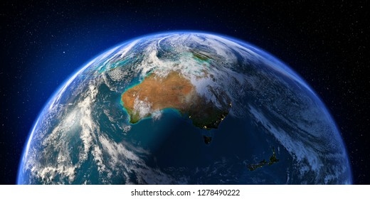 Planet Earth with detailed relief and atmosphere. Day and Night. Australia and New Zealand. 3D rendering. Elements of this image furnished by NASA