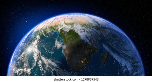 Planet Earth with detailed relief and atmosphere. Day and Night. South Africa and Madagascar. 3D rendering. Elements of this image furnished by NASA