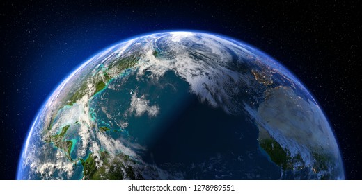 Planet Earth with detailed relief and atmosphere. Day and Night. North Atlantic Ocean. 3D rendering. Elements of this image furnished by NASA