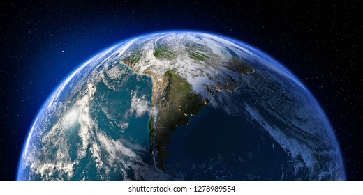 Planet Earth with detailed relief and atmosphere. Day and Night. South America. 3D rendering. Elements of this image furnished by NASA