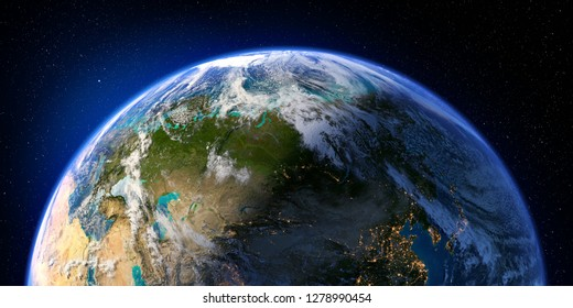 Planet Earth with detailed relief and atmosphere. Day and Night. Eurasia. 3D rendering. Elements of this image furnished by NASA