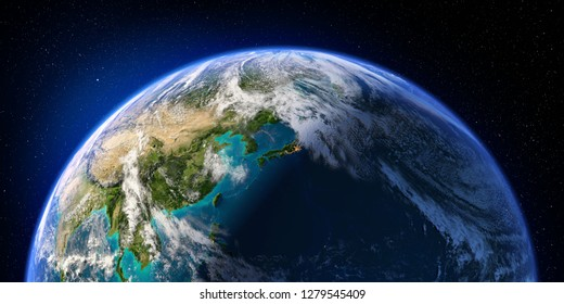 Planet Earth with detailed relief and atmosphere. Day and Night. Pacific Ocean. Japan, China. 3D rendering. Elements of this image furnished by NASA