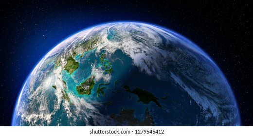 Planet Earth with detailed relief and atmosphere. Day and Night. Pacific Ocean. Indonesia. 3D rendering. Elements of this image furnished by NASA