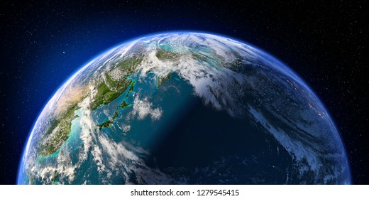 Planet Earth with detailed relief and atmosphere. Day and Night. Pacific Ocean. 3D rendering. Elements of this image furnished by NASA