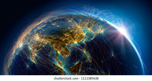 Planet Earth with detailed relief is covered with a complex luminous network of air routes based on real data. Asian countries. 3D rendering. Elements of this image furnished by NASA