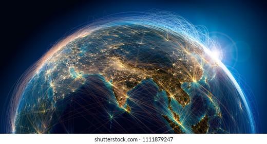 La planète Terre avec un relief détaillé est couverte d'un réseau complexe de routes aériennes lumineuses basées sur des données réelles. Inde. Asie du Sud-Est. Rendu 3D. Éléments de cette image fournis par la NASA