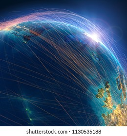 Planet Earth with detailed relief is covered with a complex luminous network of air routes based on real data. Flights from Europe to America. 3D rendering. Elements of this image furnished by NASA