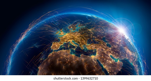 Planet Earth with detailed relief is covered with a complex luminous network of air routes based on real data. Europe. 3D rendering. Elements of this image furnished by NASA
