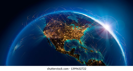 Planet Earth with detailed relief is covered with a complex luminous network of air routes based on real data. North America. 3D rendering. Elements of this image furnished by NASA