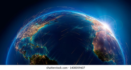 Planet Earth with detailed relief is covered with a complex luminous network of air routes based on real data. Atlantic Ocean. 3D rendering. Elements of this image furnished by NASA
