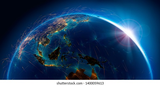 Planet Earth with detailed relief is covered with a complex luminous network of air routes based on real data. Pacific Ocean. Indonesia. 3D rendering. Elements of this image furnished by NASA