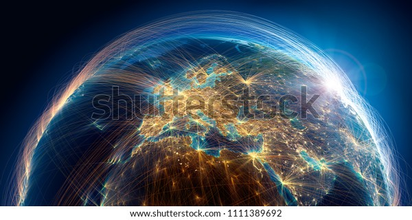 El planeta Tierra con un relieve detallado está cubierto por una compleja red luminosa de rutas aéreas basada en datos reales. Europa. Representación 3D. Elementos de esta imagen de la NASA
