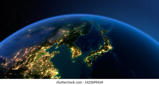 Planet Earth with detailed relief at night lit by the lights of cities. Korea and Japan. 3D rendering. Elements of this image furnished by NASA