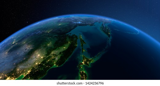 Planet Earth with detailed relief at night lit by the lights of cities. Russian Far East, Sea of Okhotsk, Kamchatka Peninsula, Sakhalin Island. 3D rendering. Elements of this image furnished by NASA