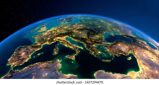 Planet Earth with detailed relief at night lit by the lights of cities. Europe. Mediterranean Sea. 3D rendering. Elements of this image furnished by NASA