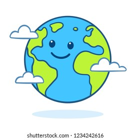 Planet Earth drawing with cute cartoon face. Nature and ecology clip art illustration.