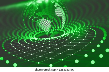 Planet Earth in the era of digital technology. Global communication networks of future. Data storage system. 3D illustration of Artificial Intelligence
