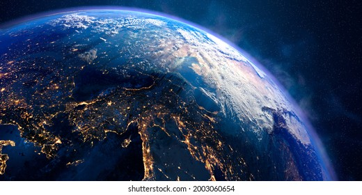 Planet Earth with exaggerated precise relief and volumetric atmosphere. Day-night transition. Turkey, Syria. 3D rendering. Elements of this image furnished by NASA