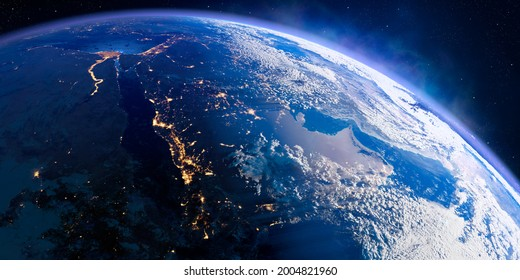 Planet Earth with exaggerated precise relief and volumetric atmosphere. Day-night transition. Arabian peninsula. Saudi Arabia. 3D rendering. Elements of this image furnished by NASA