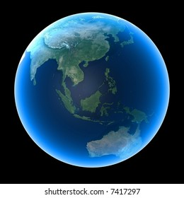 Planet Earth featuring Asia and Oceania