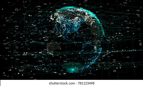 Planet Earth in the global futuristic cyber-network with connection lines around the globe. The neural artificial grid represents data and cryptocurrency exchange in business and finance worldwide