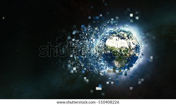 Planet Earth Globe 3D Illustration - Digital Pixels Technology Explosion Effect