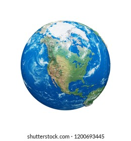 Planet earth globe isolated on white background. Blue and green realistic world. Earth day celebration. 3d render illustration with maps NASA.