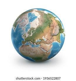 Planet Earth globe, isolated on white. Geography of the world from space, focused on Europe and Asia - 3D illustration, elements of this image furnished by NASA.