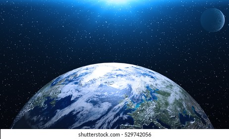 Planet Earth, Globe in space in nebula clouds. Elements of this image are furnished by NASA