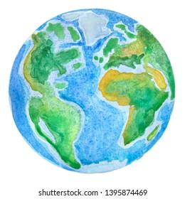 Planet Earth. Globe watercolor illustration hand drawn