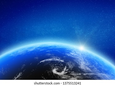 Planet Earth glow light horizon. Elements of this image furnished by NASA. 3d rendering