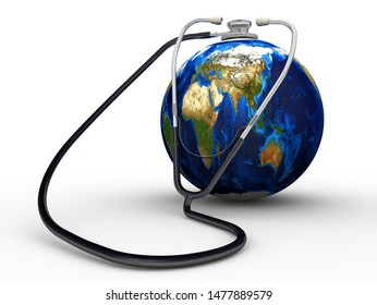 Planet Earth Health. Planet earth and phonendoscope isolated on a white surface. Isolated. 3D Illustration