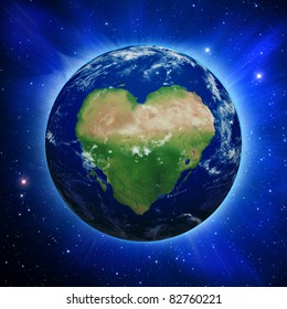 Planet Earth with heart shaped continents and clouds over a starry sky. Contains clipping path of planet.  http://visibleearth.nasa.gov. http://shadedrelief.com.