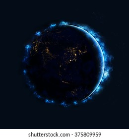Planet Earth High Resolution - Energy Auras Effect (Elements of this image furnished by NASA)