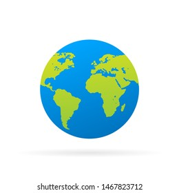 planet Earth icon. Flat planet Earth icon.