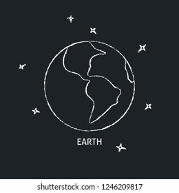 Planet Earth icon on chalkboard. Solar system space element - chalk drawing.