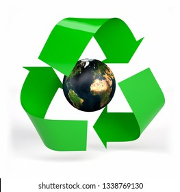 planet earth inside symbol recycle isolated on white background, 3d illustration