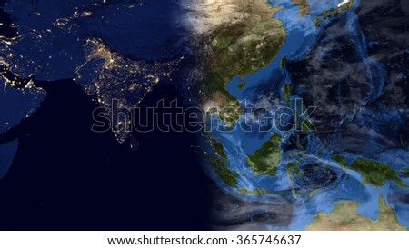 Planet Earth Map Night Day Morning Composition Stock Illustration ...
