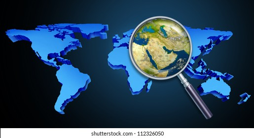 Planet earth middle eastern crisis with political issues of the persian gulf and crude oil with countries as Iran Israel Egypt Libya Kuwait Syria Saudi Arabia focused with a magnifying glass.