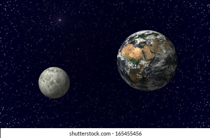 Planet earth and moon. Image including elements furnished by NASA.