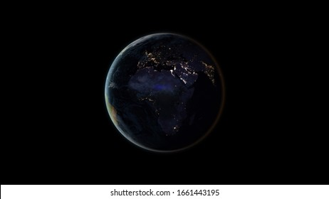 Planet Earth at night (also known as Black Marble) centered on the African and European continents. Black background. 3D computer generated image. Elements of this image are furnished by NASA.