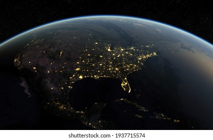 planet earth with night city  .3D illustration