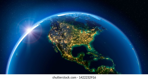 Planet Earth at night with the rising sun with the light of cities illuminating a detailed exaggerated relief. North America. 3D rendering. Elements of this image furnished by NASA