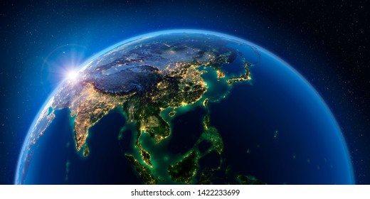 Planet Earth at night with the rising sun with the light of cities illuminating a detailed exaggerated relief. Asian countries. 3D rendering. Elements of this image furnished by NASA