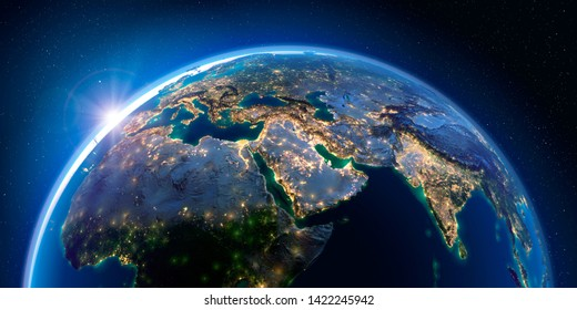 Planet Earth at night with the rising sun with the light of cities illuminating a detailed exaggerated relief. Middle East. 3D rendering. Elements of this image furnished by NASA