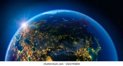 Planet Earth at night with the rising sun with the light of cities illuminating a detailed exaggerated relief. Russia. 3D rendering. Elements of this image furnished by NASA