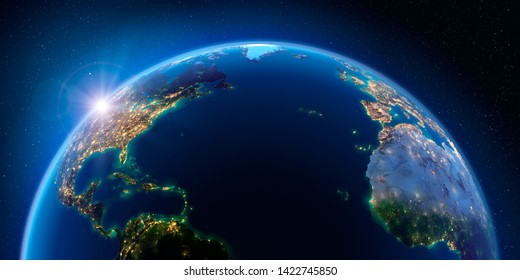 Planet Earth at night with the rising sun with the light of cities illuminating a detailed exaggerated relief. Atlantic Ocean. 3D rendering. Elements of this image furnished by NASA