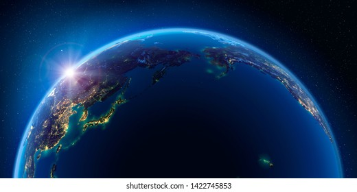 Planet Earth at night with the rising sun with the light of cities illuminating a detailed exaggerated relief. Pacific Ocean. 3D rendering. Elements of this image furnished by NASA