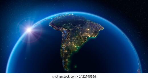 Planet Earth at night with the rising sun with the light of cities illuminating a detailed exaggerated relief. South America. 3D rendering. Elements of this image furnished by NASA