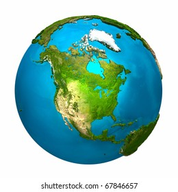 Planet Earth - North America - colorful globe with detailed and realistic surface, 3d render